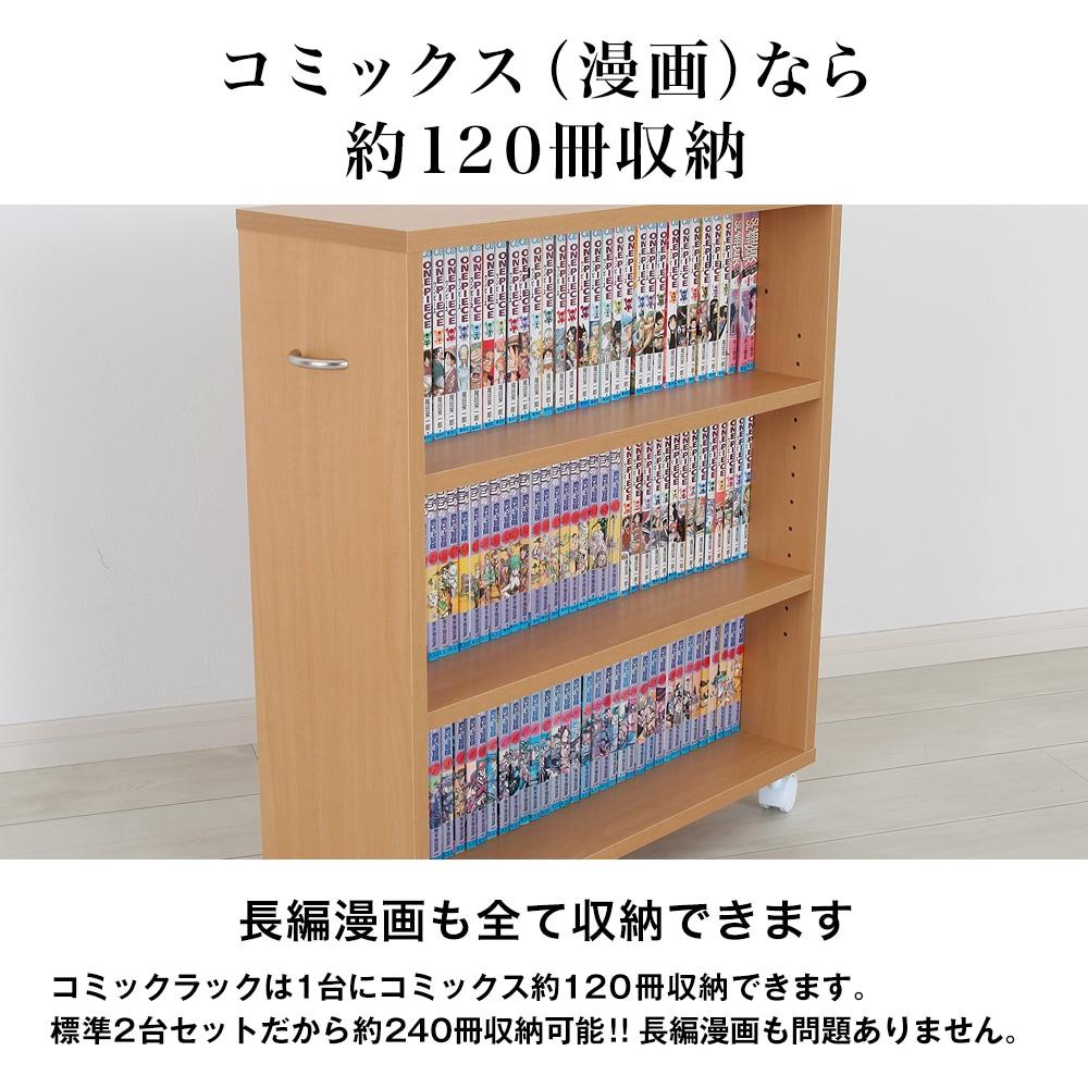 コミックス(漫画)なら約120冊収納。長編漫画も全て収納できます。コミックラックは1台にコミックス約120冊収納できます。標準2台セットだから約240冊収納可能!!  長編漫画も問題ありません。