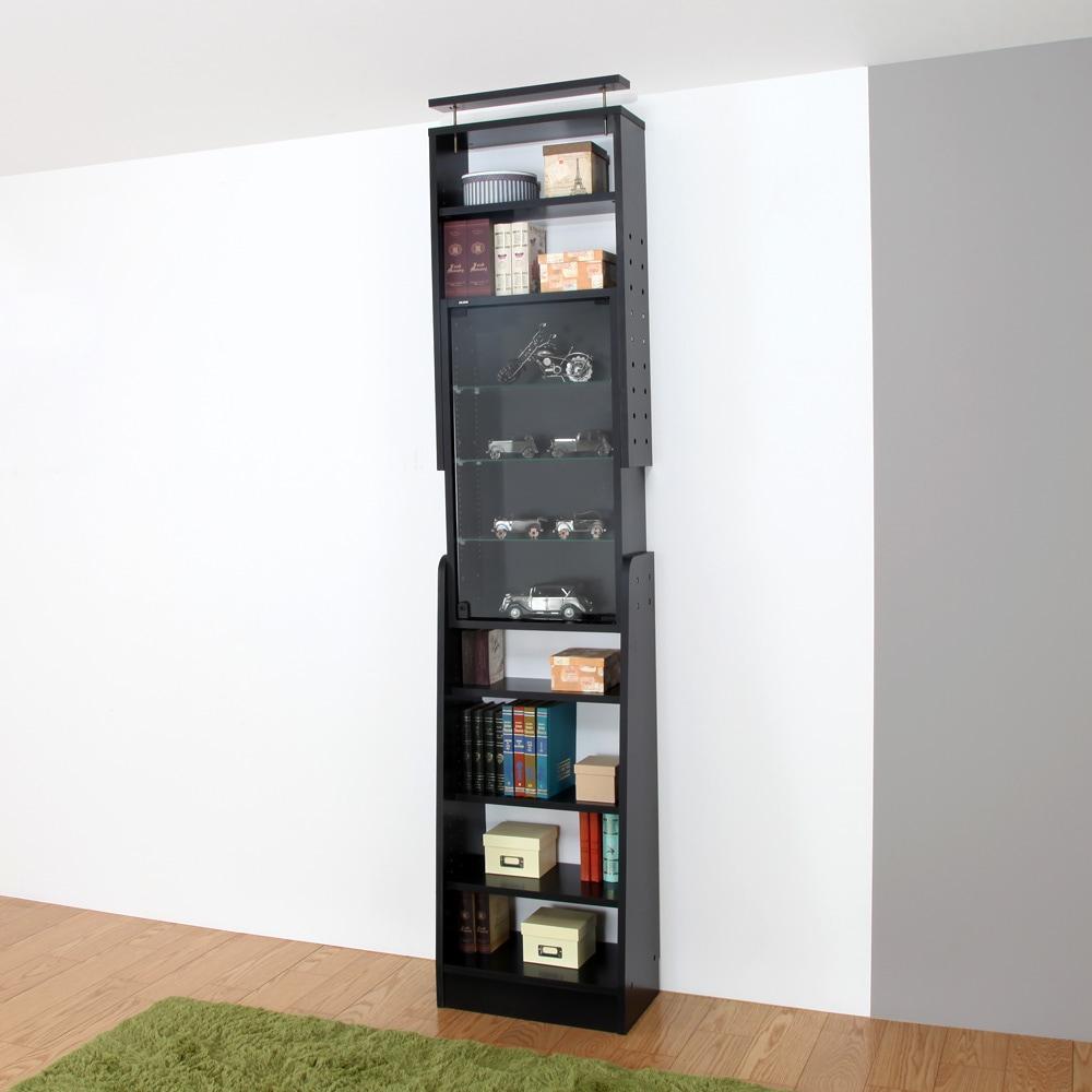 天井つっぱりコレクションラック -サブカルラック- NCR-T001 ブラック使用例