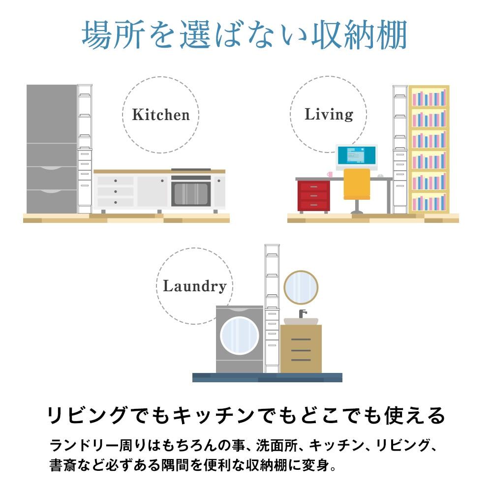 場所を選ばない収納棚。リビングでもキッチンでもどこでも使える。ランドリー周りはもちろんの事、洗面所、キッチン、リビング、書斎など必ずある隅間を便利な収納棚に変身。