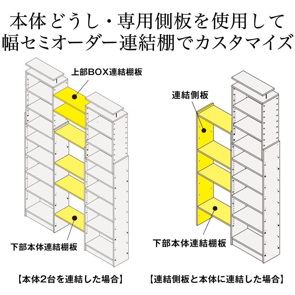 本体どうし・専用側板を使用して幅セミオーダー連結棚でカスタマイズ。