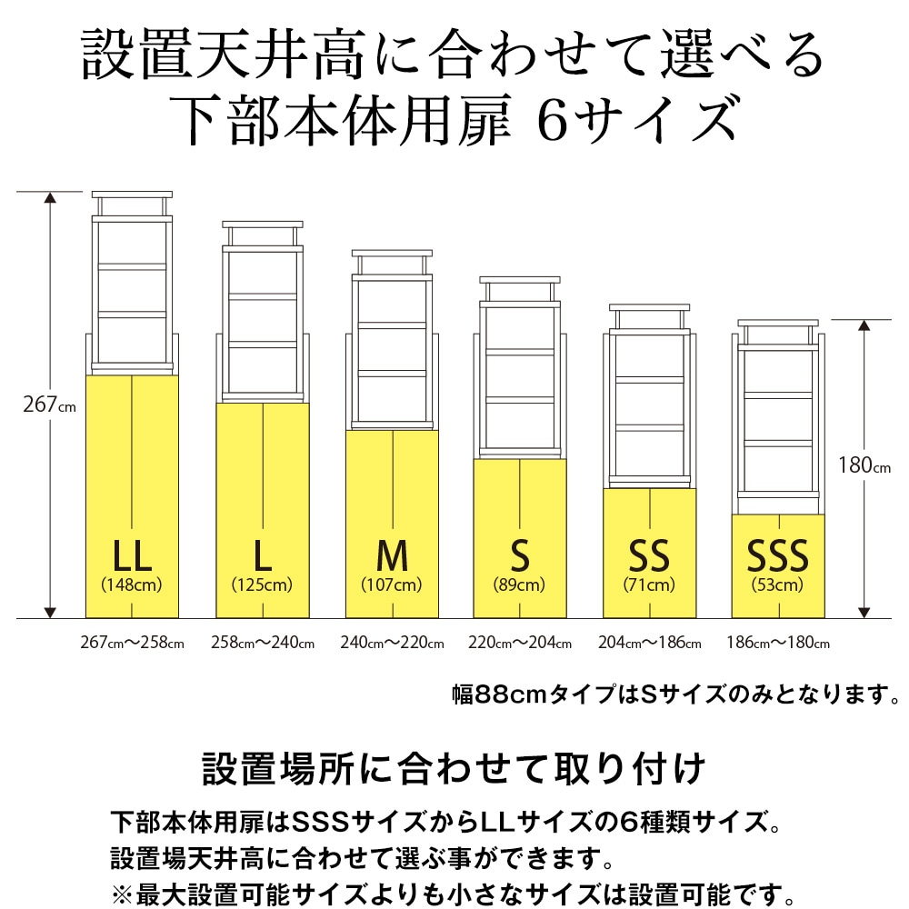 設置天井高に合わせて選べる下部本体用扉 6サイズ。設置場所に合わせて取り付け。下部本体用扉はSSSサイズからLLサイズの6種類サイズ。設置場天井高に合わせて選ぶ事ができます。※最大設置可能サイズよりも小さなサイズは設置可能です。