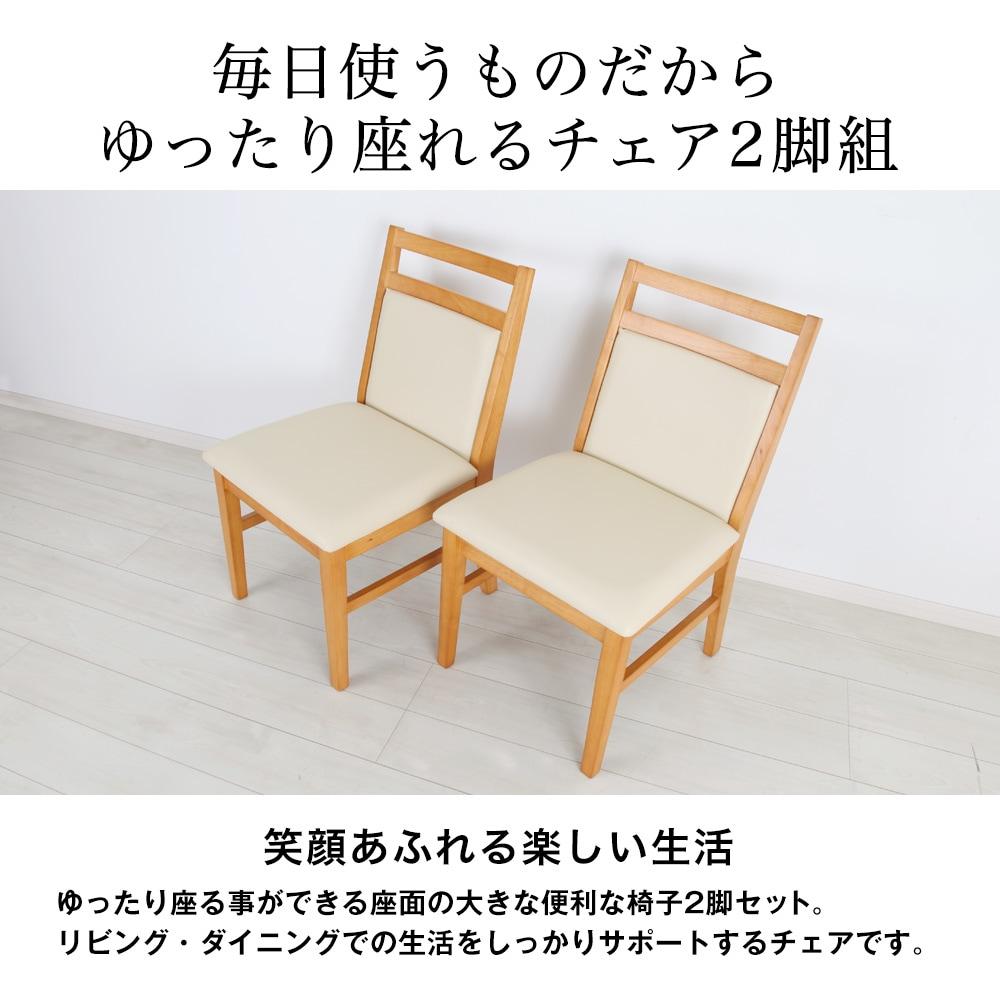 毎日使うものだからゆったり座れるチェア2脚組。笑顔あふれる楽しい生活。ゆったり座る事ができる座面の大きな便利な椅子2脚セット。リビング・ダイニングでの生活をしっかりサポートするチェアです。