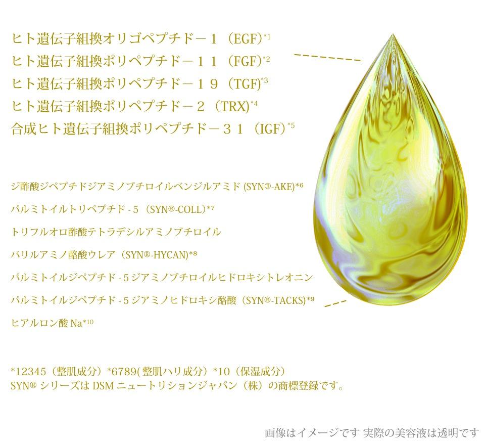 乾燥肌・シワ・たるみ・ほうれい線などの年齢肌対策にEGF・FGFを高濃度に配合したエイジングケア原液美容液