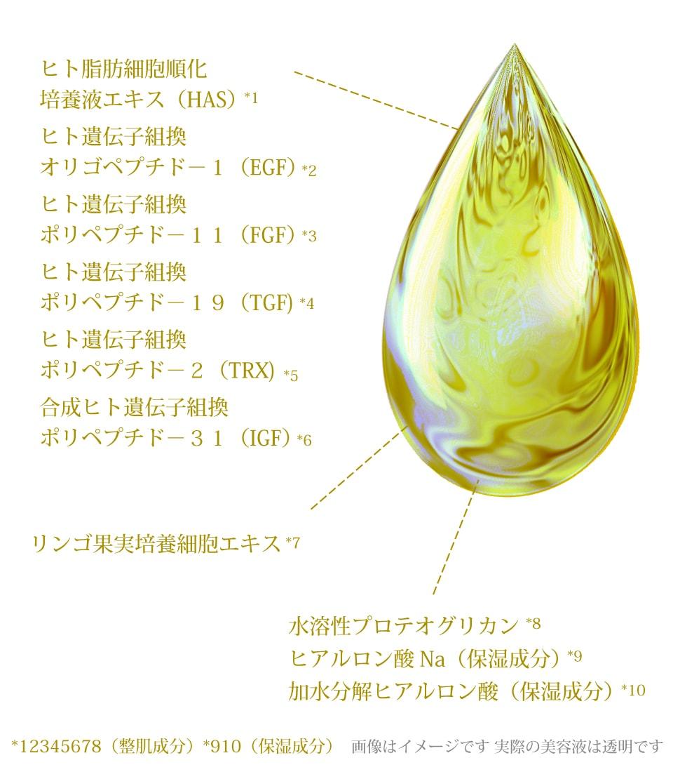 ヒト脂肪幹細胞順化培養エキス・EGF・FGF・リンゴ幹細胞美容液の説明