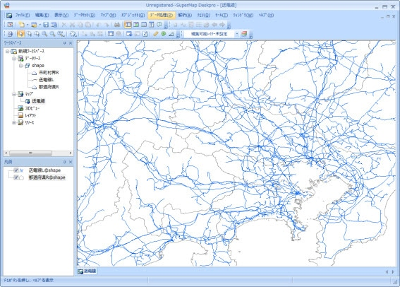 関東周辺[1/100万](SuperMap Deskpro 6で表示)