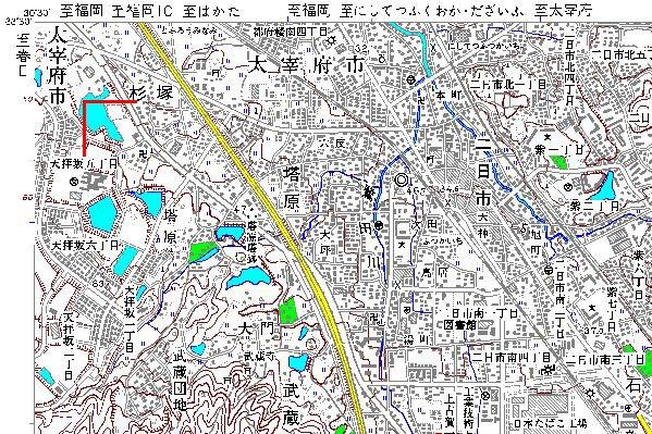 地図画像二日市左上