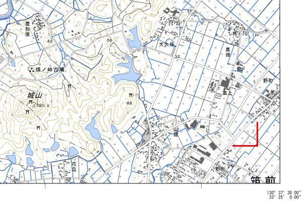 電子地形図二日市右下