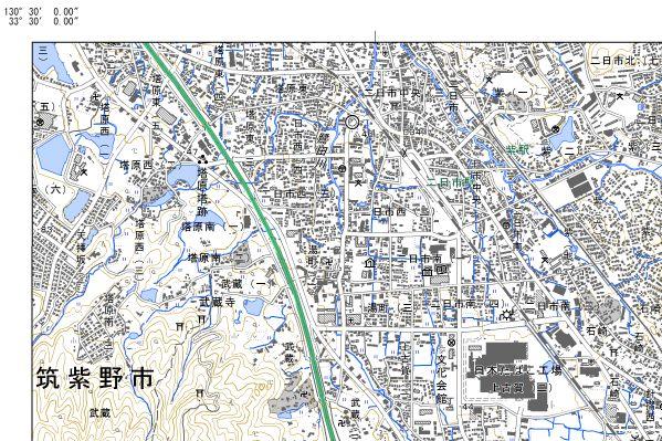 電子地形図二日市左上