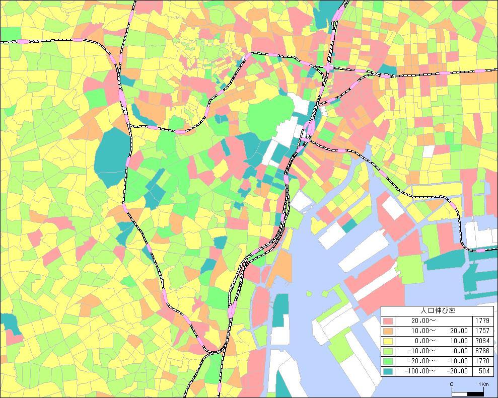 人口伸び率サンプルマップ