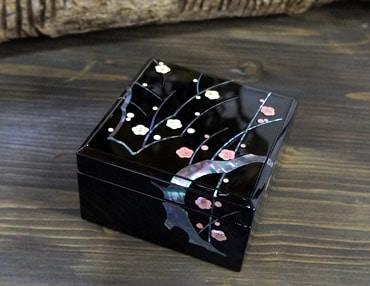 高岡漆器 小箱 貝入光琳梅