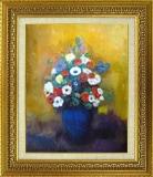 ルドン: 青い花瓶のアネモネとリラ