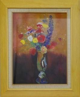 ルドン:長首の壺の草花