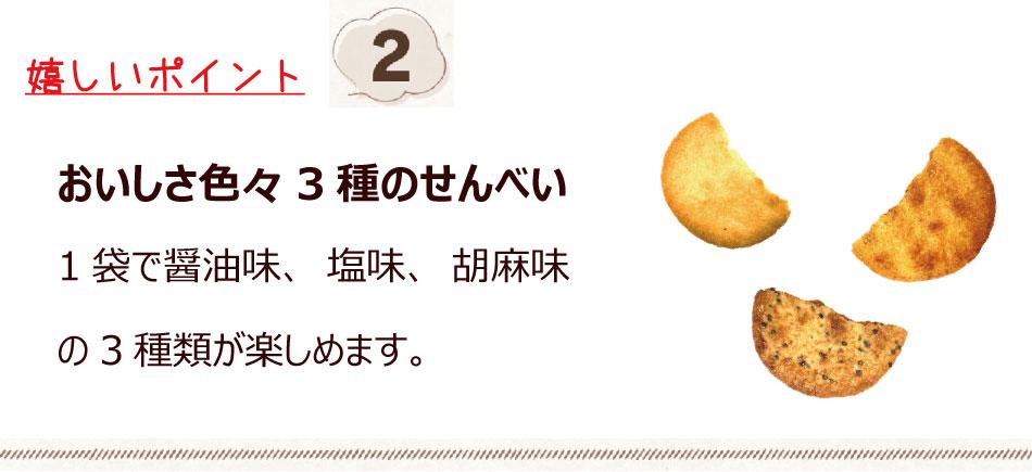 醤油 塩 胡麻 3種類の味