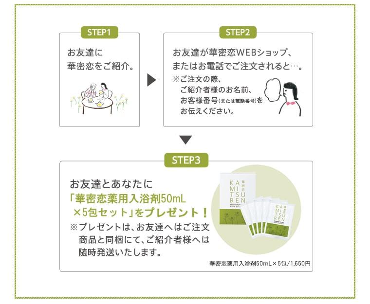 お友達紹介キャンペーン・華密恋薬用入浴剤50mL×5包セットプレゼント
