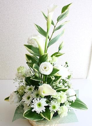 白い花のスマートなアレンジメント