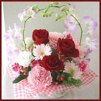ピンクのデンファレと赤いバラのアレンジメント