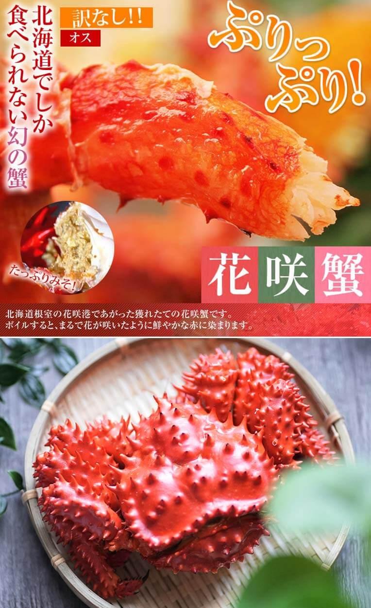 北海道ならではの大人気蟹その名は「花咲蟹」!花咲ツアーというツアーがあるくらい人気の蟹です。テレビで「幻の蟹」として話題になった「花咲蟹」は、今大変貴重な蟹として重宝されています。北海道根室の花咲港であがった獲れたての花咲蟹です。
