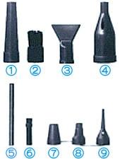 9種類のアタッチメント/ソニカル Xパワー エアダスターA2