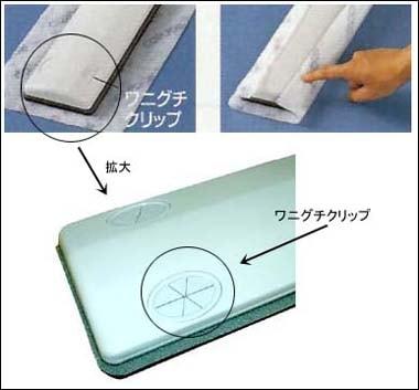 ワニグチクリップに押し込むだけの簡単取り付け/プロテック ダスターモップECO-600