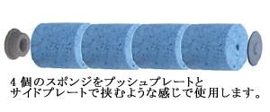 4個のスポンジをプッシュプレートとサイドプレートで挟むような感じで使用します/テラモト 吸水ローラーミニ スペアスポンジ