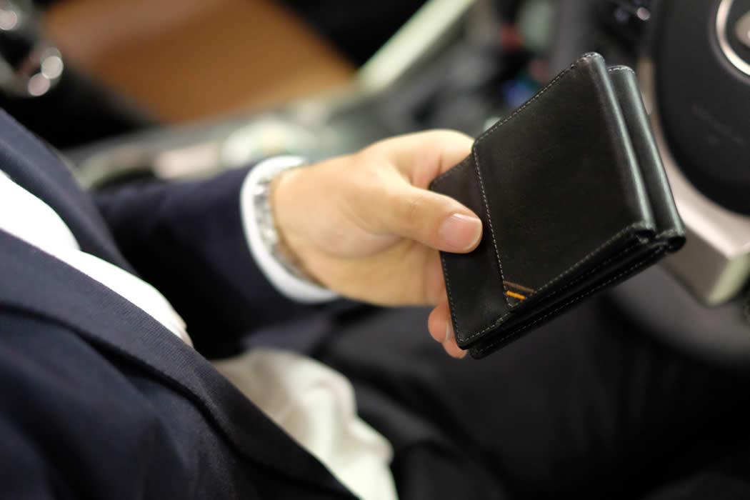 二つ折り財布 スマート メンズ 革 栃木レザー