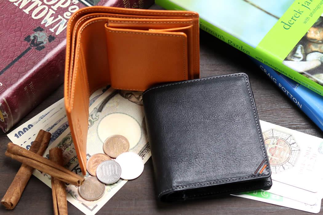 二つ折り財布 メンズ 小銭入れ付き BOX小銭入れ ボックス小銭入れ コインケース ボックス型 箱型 革 栃木レザー