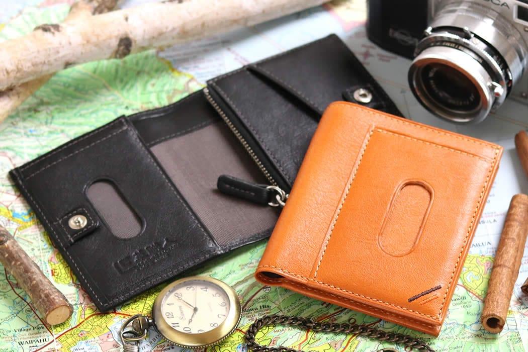 二つ折り財布 メンズ 定期入れ付き 定期入れ パスケース Suica スイカ PASMO パスモ 本革 革 栃木レザー