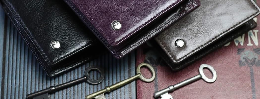 二つ折り財布 財布 革 ゴート ヤギ