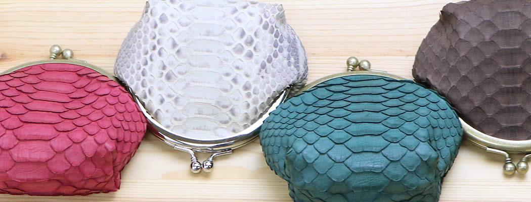 小銭入れ コインケース がま口 蛇革 ヘビ革 ダイヤモンドパイソン パイソン 豚 ピッグスエード Various バリアス