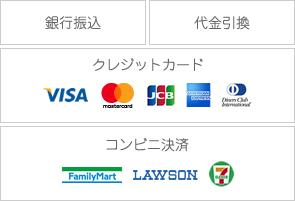 銀行振込 代金引換 クレジットカード visa mastercard jcb amex diners コンビニ決済 ファミリーマート ローソン セブンイレブン
