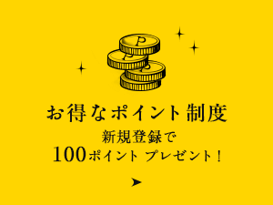 お得なポイント制度 新規登録で100ポイント プレゼント!