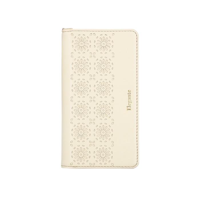 エレガンテ・カットワーク 全機種対応版 手帳型ケース 01.アイボリー