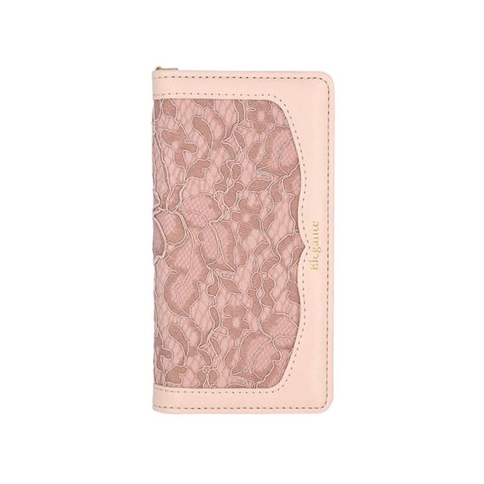 エレガンテ・レース・ファブリック 全機種対応版 手帳型ケース 03.ピンクベージュ