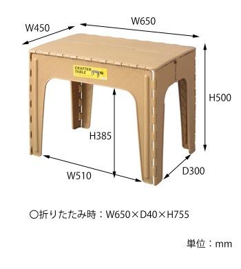 クラフターテーブル サイズ