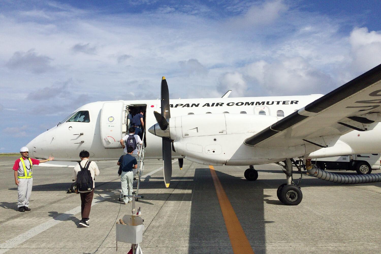 喜界島へ向かうプロペラ機