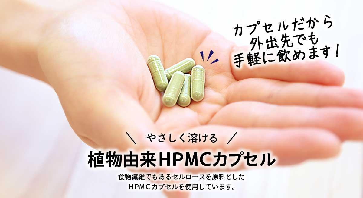 植物由来HPMCカプセルだから、外出先でも手軽に飲めます