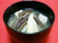 わらび(蕨)と姫竹の味噌汁
