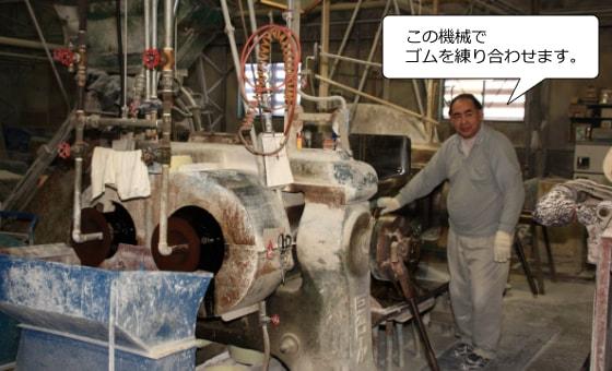 この機械でゴムを練り合わせます。