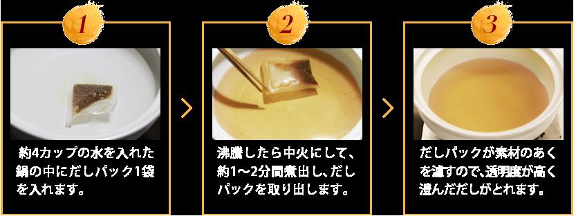 1)約4カップの水を入れた鍋の中にだしパック1袋を入れます。2)沸騰したら中火にして、約1〜2分間煮出し、だしパックを取り出します。3)だしパックが素材のあくを濾すので、透明度が高く澄んだだしがとれます。