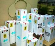 丁寧に梱包された商品。クロネコヤマトのドライバーさんの集荷を待つ