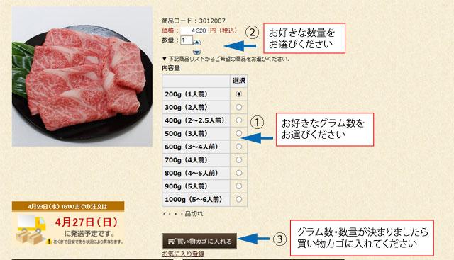 ご利用案内 神戸牛通販サイト本神戸肉森谷商店の購入手続き1 商品かご周りの説明。ご希望の内容量と個数を選んで買い物かごに入れるボタンをクリックください。