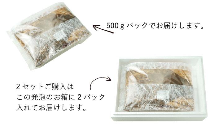 500g入 黒毛和牛ロース薄切りは500gパックの荷姿。2セット買うと2包が一つの箱にないってお届けになります。