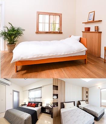 3パターンの寝具レイアウト
