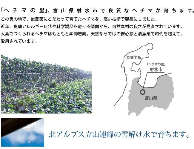 「ヘチマの里」、富山県射水市。良質なヘチマが育ちます。この恵の地で無農薬にこだわって育てたヘチマを高井技術で製品にしました。本物志向、天然ならではの安心感と清潔感で時代を超えて愛用されています。