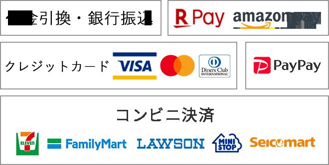 代金引換 銀行振込 クレジットカード ファミリーマート ローソン セブンイレブン ミニストップ セイコーマート PayPay