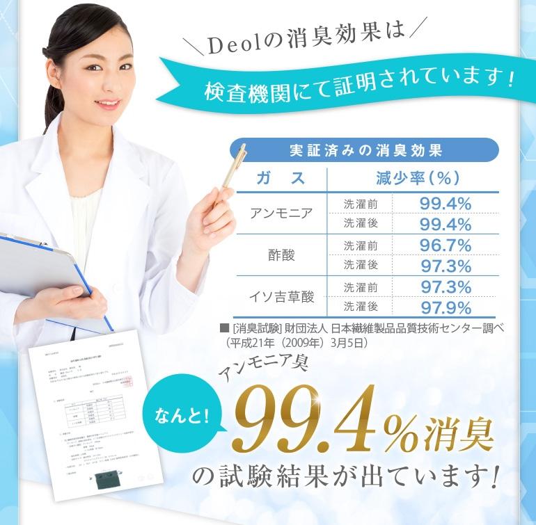 Deolの消臭効果は検査機関にて証明されています!