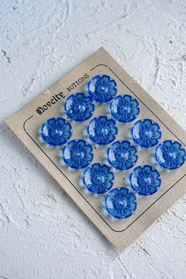 Novelty buttonsブルーのお花プラスティックボタン W2cm 1930-40年代 gs-1303