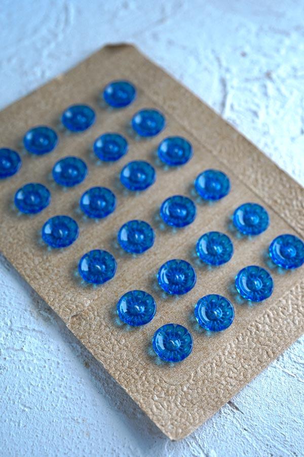 ヴィンテージブルーのお花のプラスティックボタン4個セットW1.3cm gs-1315