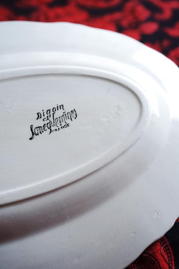 アンティークDigoin Sarreguminesのリムのオーバルプレート 26.5×17.5cm gc-802