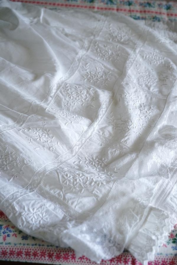 アンティークベビー洗礼服にペチコート付1900年代前後 gd-198